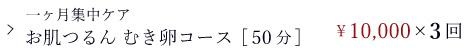 フェイシャルコース/通常メニュー/一ヶ月集中ケア お肌つるんむき卵コース[50分]/¥10,000×3回